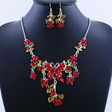Fashion Wedding Engagement Statement Butterfly Earrings Necklace Sets Costume