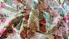 NEW Vintage Chic French Rose Butterfly Cotton Linen Fabric RETRO top quality