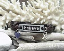 PURPLE~Hope RIBBON Awareness~BELIEVE~JEWELRY BRACELET~SUPPORT~Leather~MEN-WOMEN
