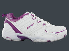 Womens Hi-Tec T200 White Lightweight Gym Sport Tennis Shoes Trainers Size 4-8 UK