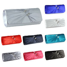New Satin Diamante Pleated Evening Clutch Bag Bridal Handbag Prom Purse