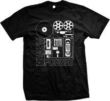 Never Forget Old School Electronics VHS Cassette Floppy Disc Record Mens Tshirt