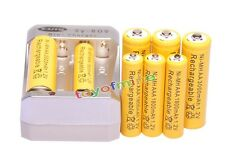 4x AA 3000mAh + 4x AAA 1800mAh 1.2V Ni-MH Yellow Rechargeable Battery +Charger