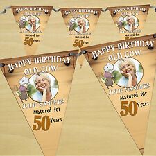 Personalised Old Cow 30th 40th 50th Birthday PHOTO Flag Banner Bunting - N28
