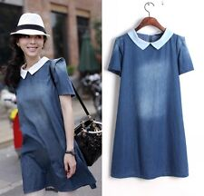 New Fashion Womens Girls Vintage Denim Lapel Short Sleeve Loose Dress Size S M L