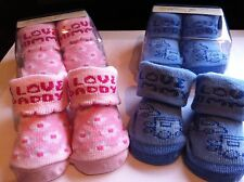 CUTE BABY SOCKS I LOVE MUMMY/DADDY 0-6 MONTHS PINK OR BLUE BOY GIRL GIFT
