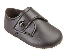 BABY BOYS BUTTON SOFT SOLE PRAM  SHOES