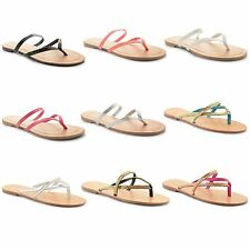 New Womens Ladies Toe Post Flat Summer Beach Strappy Slip On Sandals Shoes Size