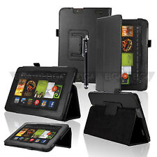 "Folio PU Leather Case Smart Cover Stand for Amazon Kindle Fire HD 7"" 2013+Stylus"
