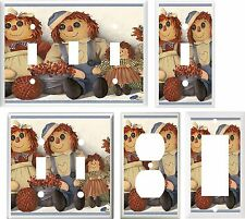 RAGGEDY ANN AND ANDY DOLLS  IMAGE  LIGHT SWITCH COVER PLATE U PICK SIZE