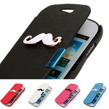 Mustache Magnetic Leather Flip Case Cover For Samsung Galaxy S Advance i9070