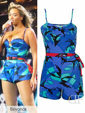 NEW WOMENS CELEBRITY BEYONCE STYLE MIDNIGHT BLUE CAMOUFLAGE CREPE PLAYSUIT 8-14