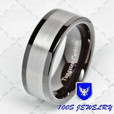Mens Tungsten Carbide Ring Brushed Black Wedding Band Titanium Color Size 8-13