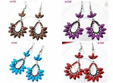 4 Color Vintage Stylish Unique Lady Tibetan Silver Crystal Beaded dangle Earring