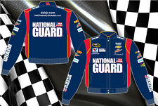 Dale Earnhardt Jr Nascar Jacket National Guard Navy Red Twill Jacket