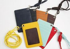 Synthetic Leather ID Card Holder Lanyard Wallet Necklace Strap Badge Holder Gift