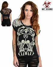 TOO FAST skelly lace TATTOO GOTHIC PUNK ROCKABILLY ZOMBIE SKELETON SKULL SHIRT