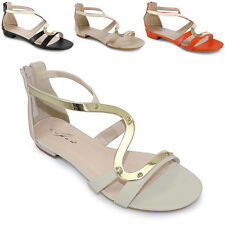 Ladies Strappy Small Heel Gold Stripe Summer Gladiator Women's Sandals Shoes