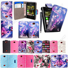For Nokia Asha 503 Printed Leather Magnetic Wallet Flip Case Cover Pouch +Stylus