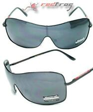 Mens Womens Metal Frame Wrap Visor Sunglasses Sun Glasses Black Silver Mirror
