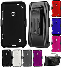 HARD CASE + BELT CLIP HOLSTER STAND + SCREEN PROTECTOR FOR NOKIA LUMIA 520 PHONE