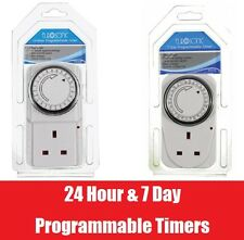 24 Hour Or 7 Day Timer UK Mains Plug In Programmable Switch Time Clock Security