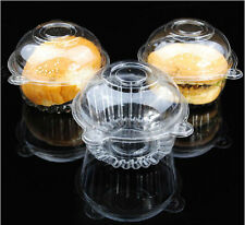 Lots 50/100 Single Clear Plastic Case Muffin Pods Dome Holder Cup Cake Boxes JP
