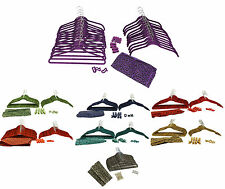 NEW! 60 Piece Flocked Non-Slip Velvet Clothes Hangers & Accessories Set | Chrome