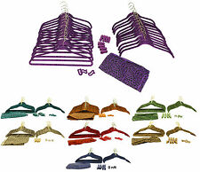 NEW! 60 Piece Flocked Non-Slip Velvet Clothes Hangers & Accessories Set | Brass