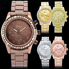 Unisex Womens Mens Perfect Geneva Bling Crystal Stainless Steel Wrist Watch BD7U