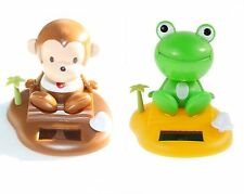 Shining Monkey, Frog on a TROPICAL ISLAND - Solar Powered Toy / Home Car Decor