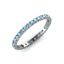 Blue Topaz and Diamond U-Prong Eternity Band 1.32 ct tw-1.54 ct tw in 14K Gold
