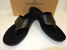 NEW COLE HAAN TUCKER THONG II C12441 BLACK TUMBLED LEA  SANDAL W/ RUBBER SOLE