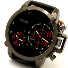OULM Military Army Cool 2 Dial Time Zones Leather Sports Mens Wrist Watch Gift
