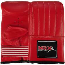 BOXING BAG GLOVES KICKBOXING TRAINING MMA PUNCH MITTS COWHIDE LEATHER RED