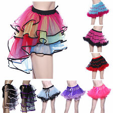 Rainbow Neon RaRa Rave Party Dance Ruffle Tiered Tutu Skirt Clubwear