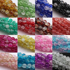 Wholesale 6-10MM Glass Crackle Cracked Loose Spacer Round Crafts Beads 16Colors