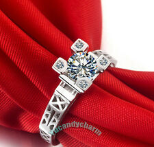 Made in Korea Deluxe Eiffel Tower design Ring Rose Gold White Gold big CZ Gem