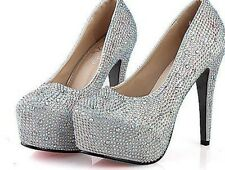 Sexy Womens Shining Crystal Stilettos High Heels Bridal Prom Wedding Party Shoes
