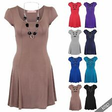 Womens Scoop Neck Jersey Flared Skater Mini Dress Long Tunic Top Size Necklace