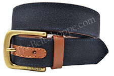 Tommy Hilfiger Canvas Casual Wear Belt for Men - Navy Blue - New - Size 34 - 44
