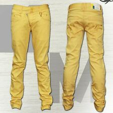 Kosmo Lupo Men's Jeans Denim Trouser Thick Seams Yellow Vintage Washed Club New