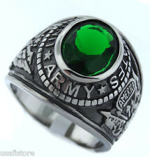 Mens Emerald Green CZ US Army Military Stainless Steel Ring