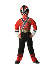 Child Power Rangers Red Samurai Party Fancy Dress Costume Superhero Boys BN