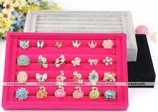 Suede Jewelry Earring Ring Display Organizer Box Tray Holder Case Storage Colors