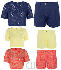 NEW LADIES WOMENS PAISLEY PRINT WOVEN LACE PARTY CROP TOP & SHORTS (SIZES 6-14)