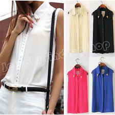 Sexy Women's Rivet Chiffon Sleeveless T-Shirt Blouse Stand Collar Vest Tops J67P