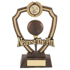 Personalised Gold & Black Nearest The Pin Golf Shield Trophy Award Engraved