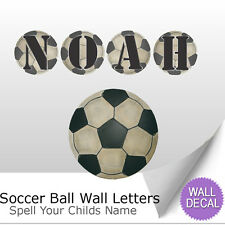 Wall Letter Alphabet Initial Sticker Vinyl Decal Name Bedroom Sports Soccer Ball