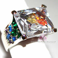 Love Beauty for Ashes Rainbow in the Sky Colorful CZ Modern Bling Geometric Ring